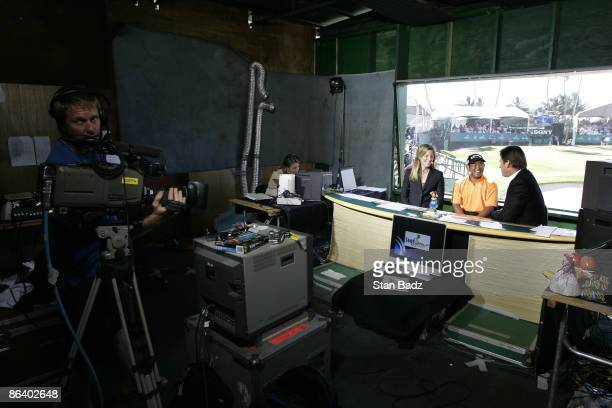 Golf Channel onair talent Kelly Tilghman and Nick Flado interview Tadd Fujikawa after the third round of the Sony Open in Hawaii held at Waialae...