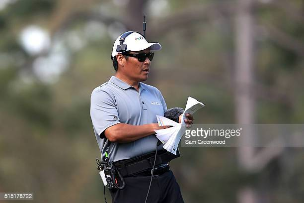 Golf Channel reporter Notah Begay III looks on during the third round of the Valspar Championship at Innisbrook Resort Copperhead Course on March 12...