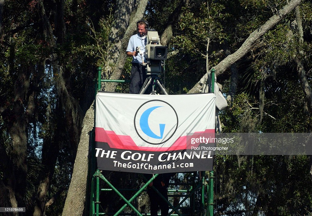 Golf Channel TV workers preparing cameras during the practice round for the 2004 UBS World Cup at the Cassique Course on Kiawah Island, South Carolina on November 18, 2004.