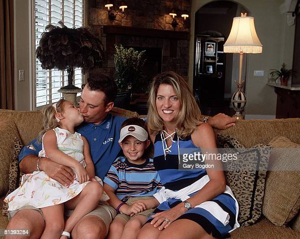 Golf Closeup portrait of Chris DiMarco with wife Amy and children Cristian and Amanda Orlando FL 5/20/2002