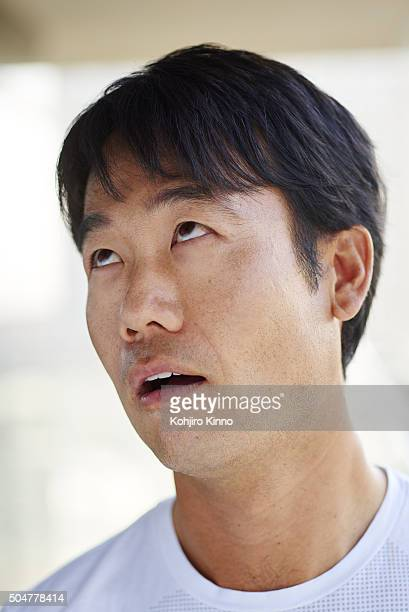 Closeup portrait of Kevin Na during photo shoot on the hotel balcony of The Cosmopolitan Las Vegas NV CREDIT Kohjiro Kinno
