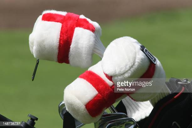 Golf club head covers are seen during the Virgin Atlantic PGA National Pro-Am Championship - Regional Final at Fulford Golf Club on July 19, 2012 in...