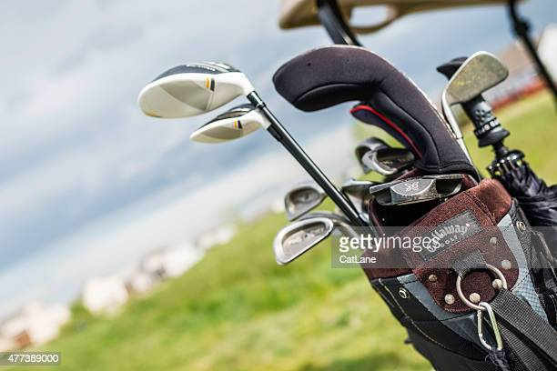 golf clubs in golf bag - brand name stock pictures, royalty-free photos & images