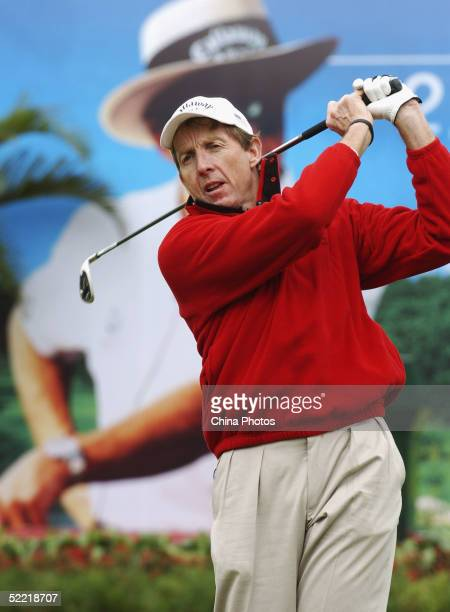 Golf coach David Leadbetter demonstrates striking a ball during a coaching session at Mission Hills Golf Club on February 19 2005 in Shenzhen of...
