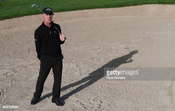 Golf coach Pete Cowen pictured during a practice round prior to the Omega Dubai Desert Classic at Emirates Golf Club on January 23 2018 in Dubai...