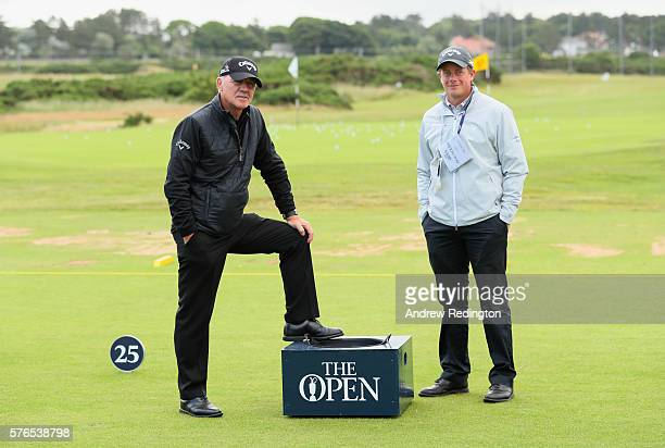 Golf coaches Mike Walker and Pete Cowen pose on the range during previews ahead of the 145th Open Championship at Royal Troon on July 13 2016 in...