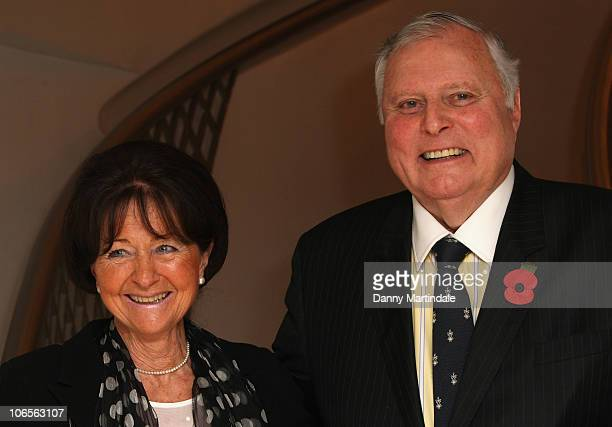 Golf comentator Peter Alliss and wife attend tribute lunch to Sir Terry Wogen/ his tribute lunch at The Dorchester on November 5 2010 in London...