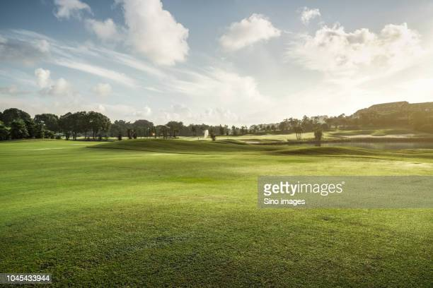 golf course and pond on summer day, guangzhou, guangdong, china - image stockfoto's en -beelden