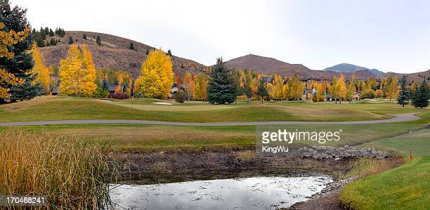golf course in autumn - sun valley idaho stock photos and pictures
