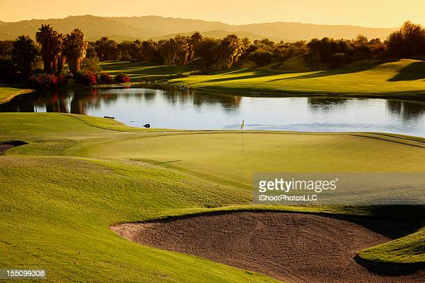 golf course landscape at sunrise - palm springs stock pictures, royalty-free photos & images