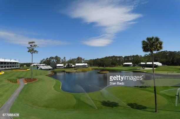 Golf course mantenance on the 17th hole prior to THE PLAYERS Championship on THE PLAYERS Stadium Course at TPC Sawgrass on May 2 in Ponte Vedra Beach