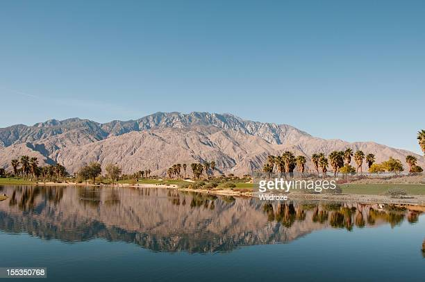 Golf course mountain reflection Palm Springs
