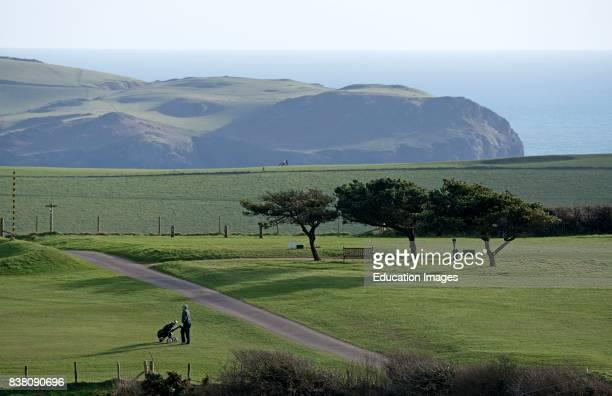 Golf course on the Devon coast England UK