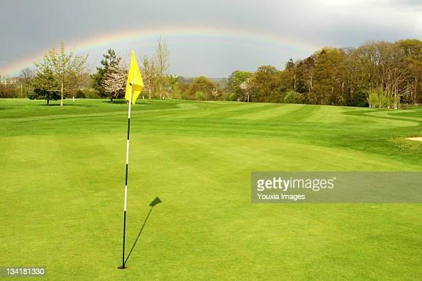 golf course rainbow - ウェスト・バークシャー ストックフォトと画像
