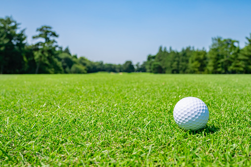 Golf Course where the turf is beautiful and Golf Ball on fairway. Golf course with a rich green turf beautiful scenery. 1028547292