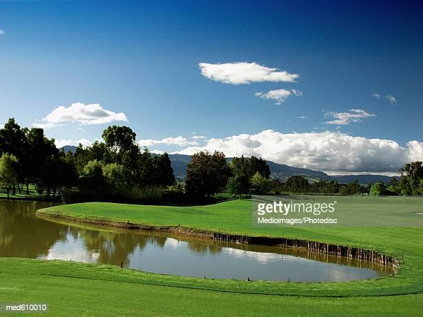 Golf course with lake