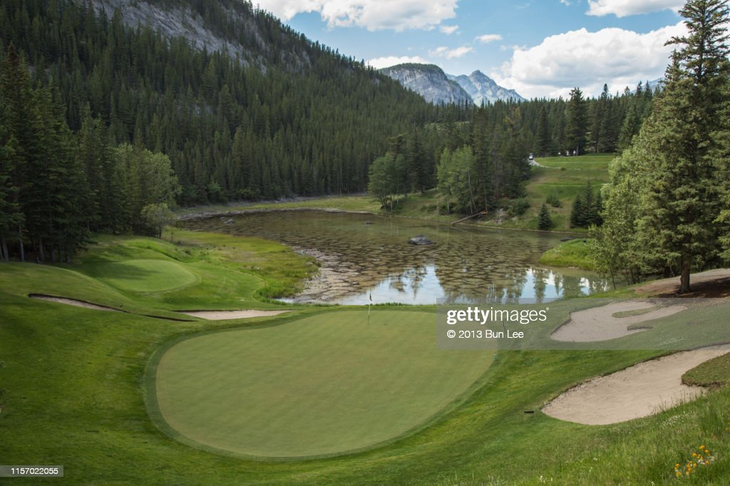 Golf course with teeing ground : Stock Photo