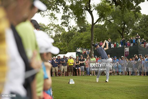 Crowne Plaza Invitational: Jordan Spieth in action, drive from No 3 tee on Sunday at Colonial CC. Fort Worth, TX 5/24/2015 CREDIT: Darren Carroll