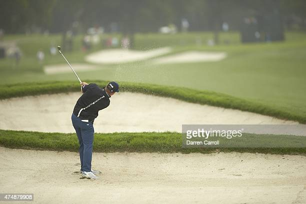 Crowne Plaza Invitational: Rear view of Hunter Mahan in action from sand on No 11 hole on Friday at Colonial CC. Fort Worth, TX 5/22/2015 CREDIT:...