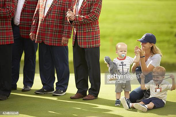 Crowne Plaza Invitational View of Tahnee Kirk wife of Chris Kirk with their sons Sawyer and Foster during trophy presentation ceremony on Sunday at...