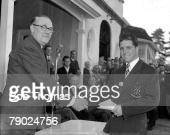 Dunlop Championships May 1956 Sunningdale Berkshire Legendary South African golfer Gary Player is pictured at the trophy presentation