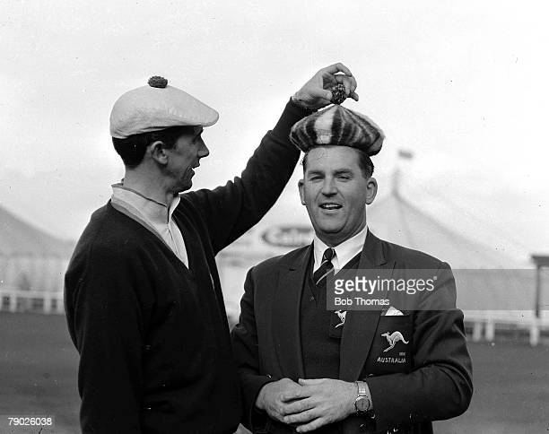 Eisenhower Trophy October 1958 St Andrews Scotland Amateur golfers Joe Carr and Doug Bachli are pictured at the Old Course