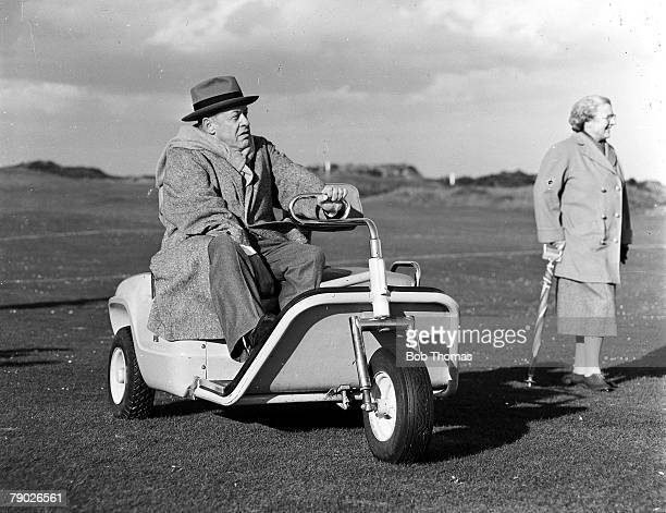 Eisenhower Trophy October 1958 St Andrews Scotland Legendary American golfer Bobby Jones is pictured in his special golf buggy after receiving the...
