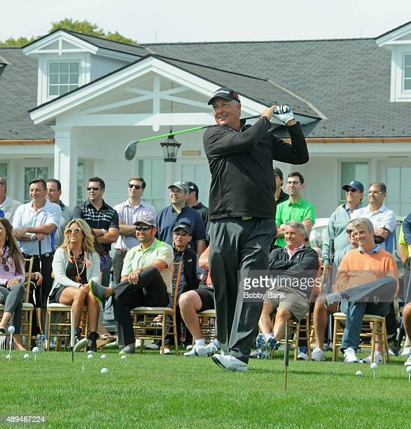 Golf entertainer Dan Boever Baseball player Johnny Damon and his wife Michelle Mangan attends the 9th Annual ETF Golf Invitational at Trump National...