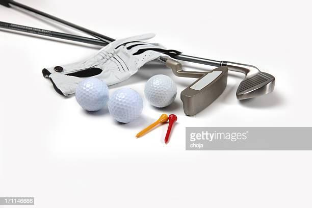 Golf equipment...ball.gloves,stick
