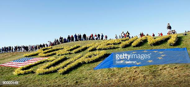 Golf fans are seen on the first hole during the saturday morning fourball matches at the 2009 Solheim Cup at Rich Harvest Farms on August 22 2009 in...