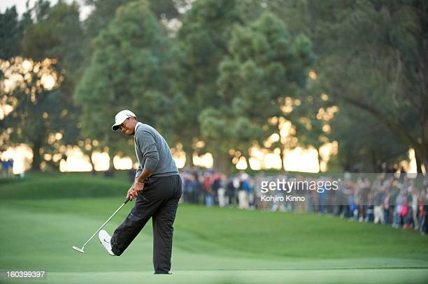 Farmers Insurance Open Tiger Woods reacts during Sunday play at Torrey Pines GC La Jolla CA CREDIT Kohjiro Kinno
