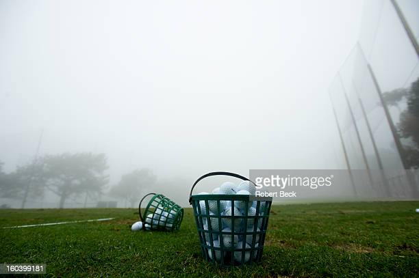 Farmers Insurance Open View of bucket of balls on during delay for fog on Saturday at Torrey Pines GC Weather Equipment La Jolla CA CREDIT Robert Beck