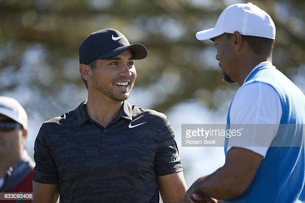 Farmers Insurance Open View of Jason Day and Tiger Woods during Thursday play at Torrey Pines GC La Jolla CA CREDIT Robert Beck