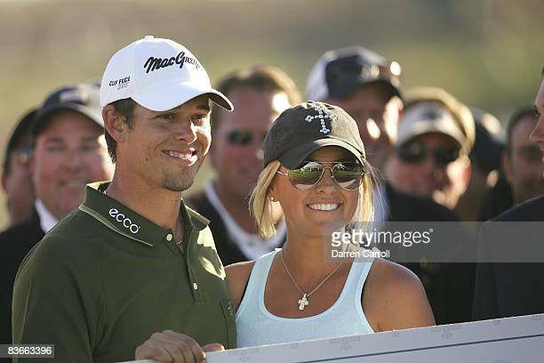 FBR Open Closeup of Aaron Baddeley victorious with wife Richelle after winning tournament on Sunday at TPC Scottsdale Scottsdale AZ 2/4/2007 CREDIT...