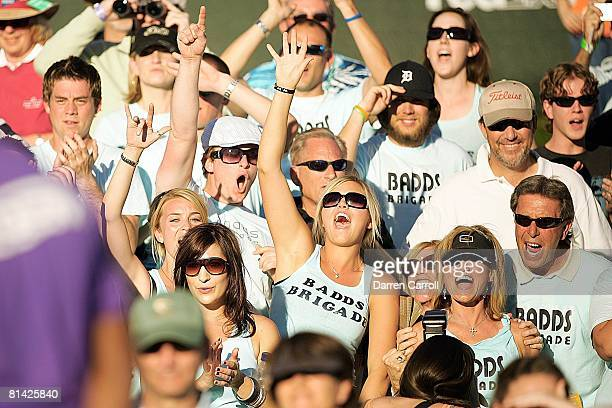 Golf FBR Open View of Richelle wife of Aaron Baddeley in gallery with family and wearing BADDS BRIGADE shirt during Sunday play at TPC Scottsdale...