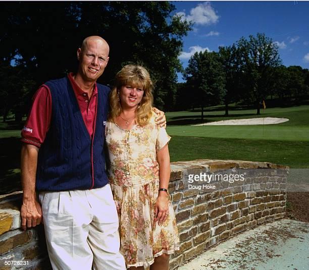 Feature Portrait of Paul Azinger w wife Toni Azinger bald after chemotherapy treatments