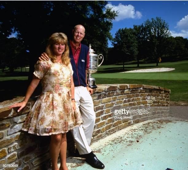 Feature Portrait of Paul Azinger w wife Toni PGA Championship trophy