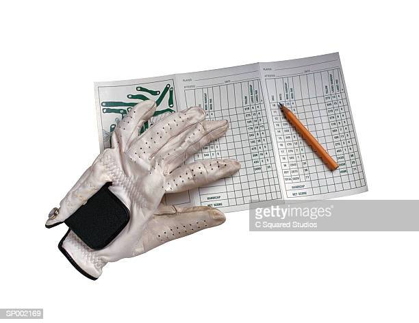 golf glove and scorecard - scoring stock pictures, royalty-free photos & images