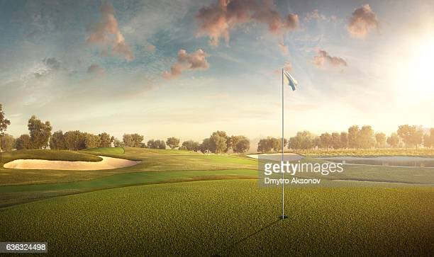 golf: golf course - golf flag stock photos and pictures