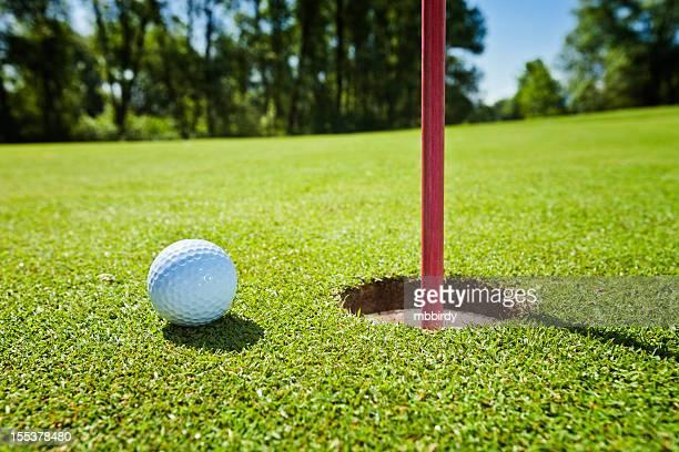 Golf grass court with ball
