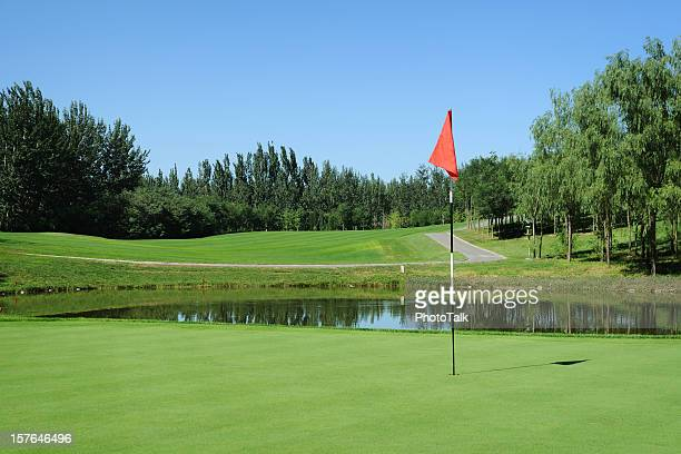 golf green and red flag - xlarge - green golf course stock photos and pictures