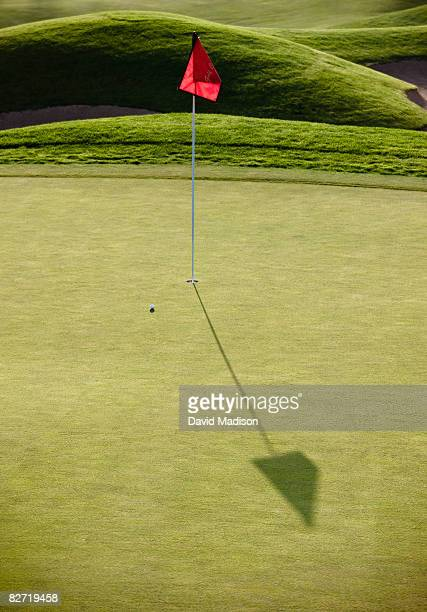 Golf green with flag, pin, cup, and ball.