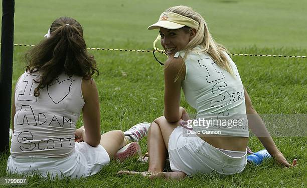 Golf groupies beside the fairways during the fourth round of the Johnnie Walker Classic at Lake Karrinyup Country Club in Perth Australia on February...