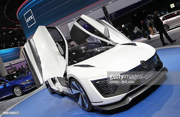 A golf GTE Sport concept car is displayed at the booth of German carmaker Volkswagen at the second press day of the 66th IAA auto show in Frankfurt...
