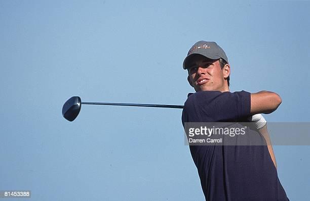 Golf: Honda Classic, Closeup of Aaron Baddeley in action, drive on Friday at TPC at Heron Bay, Coral Springs, FL 3/9/2001