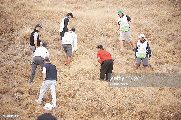 Humana Challange: Patrick Reed searches for his ball in the rough on Friday at La Quinta CC. La Quinta, CA 1/23/2015 CREDIT: Robert Beck