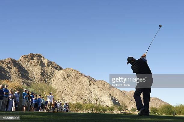 Humana Challange: Rear view of Phil Mickelson in action, drive on Friday at La Quinta CC. La Quinta, CA 1/23/2015 CREDIT: Robert Beck