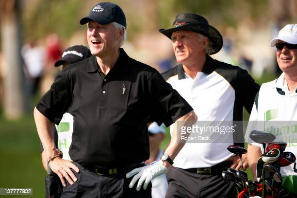 Humana Challenge: Former United States President Bill Clinton with Greg Norman on Saturday during Round 3 at La Quinta CC. La Quinta, CA 1/21/2012...