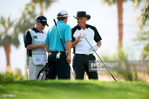 Humana Challenge: Greg Norman with Scott McCarron on Saturday at La Quinta CC. La Quinta, CA 1/21/2012 CREDIT: Robert Beck