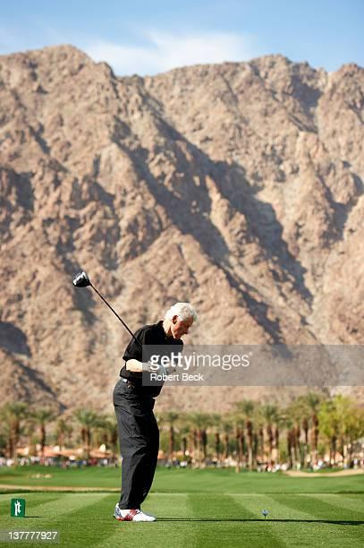 Humana Challenge: Rear view of former United States President Bill Clinton on Saturday on practice range at La Quinta CC. La Quinta, CA 1/21/2012...